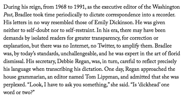 Love this Ben Bradlee anecdote from David Remnick: http://t.co/4ZOGgYYcq6 http://t.co/iiDiY3tq79