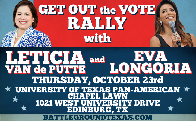 RT @IsmaelRGV: Don't miss @leticiavdp GOTV rally with actress @EvaLongoria Thursday 11 a.m. at #UTPA! https://t.co/QPX8BKZnaT #RGV http://t…