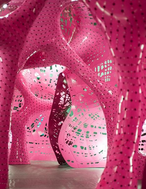 A multisensory installation made of pink aluminium - see The Situation Room here: http://t.co/ZE4DARaIrj #art http://t.co/JOwKGWNw6V