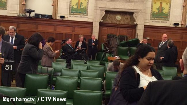 PHOTO: Parliament Hill caucus room barricaded with furniture due to active shooter situation - http://t.co/8pVYX8s91t http://t.co/6cHBF5KsME