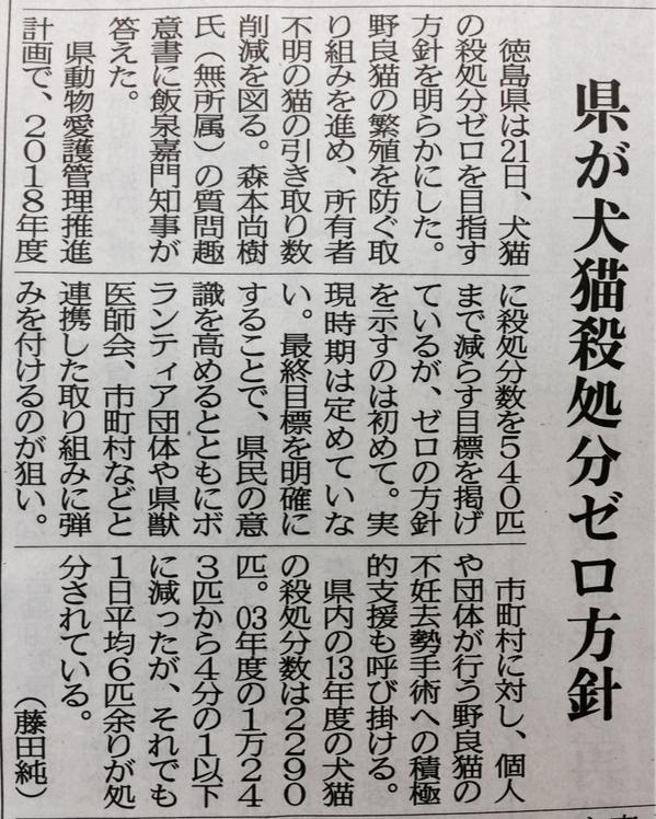 徳島県の飯泉知事、犬や猫の殺処分ゼロを目指すと。私、森本尚樹の質問趣意書に明確に答える\(^o^)/弾みをつけ、さらに世論を喚起したい。 http://t.co/qpahtT90xn