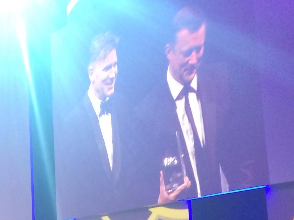 Here's a pic of @russellramsey1 picking up our Arden award at The campaign Bigs. Very proud. http://t.co/1ON3cKEDdY