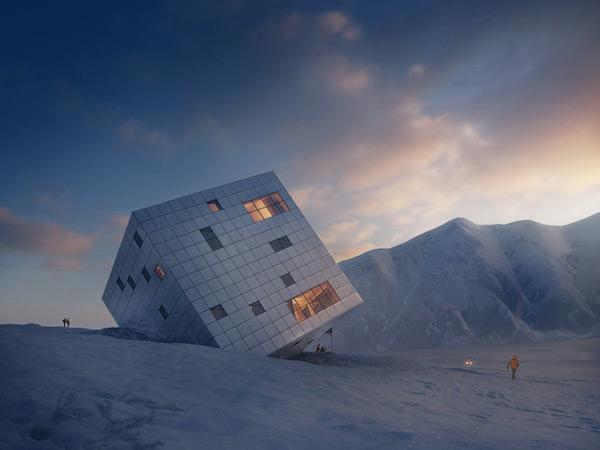A lodge that looks like a silver cube balancing on a mountain - see it here: http://t.co/JWOFiuMHwi #architecture http://t.co/s9bHlt0WNa