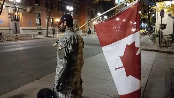 Hamilton resident says he isn't afraid to wear a uniform and stands strong in support of our soldiers.   #HamOnt http://t.co/J6ozXsLKzr