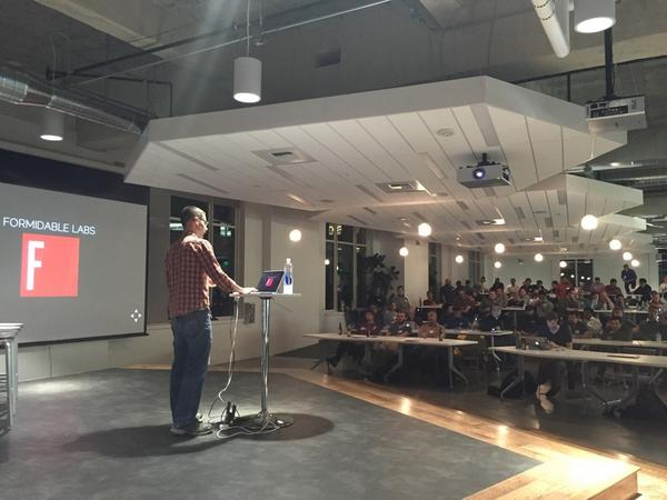 Ryan Roemer presenting about Node.js at startup week Seattle
