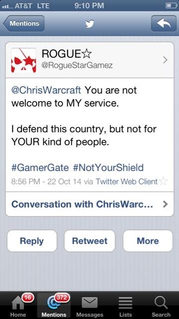 RT @ChrisWarcraft: Here's a #Gamergate servicemember telling me what he really thinks about US citizenship. http://t.co/PzZTK1xL2Y