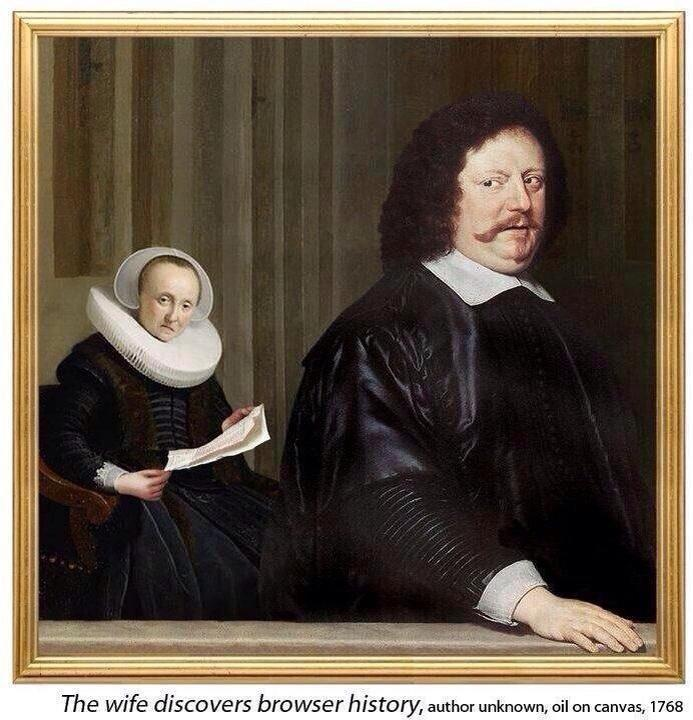 """RT @MeredithFrost: """"The wife discovers browser history"""" -Author unknown, oil on canvas, 1768. http://t.co/17Uv597XmS"""