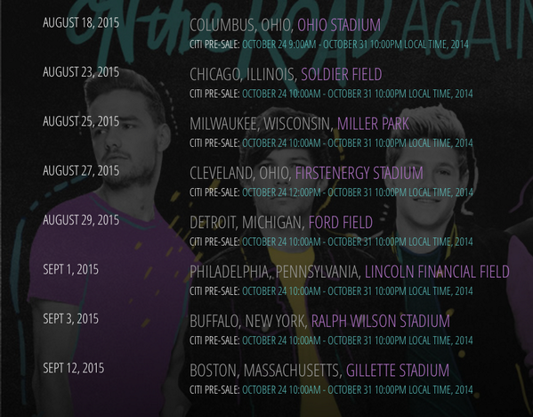 One Direction Tour  Dates Usa