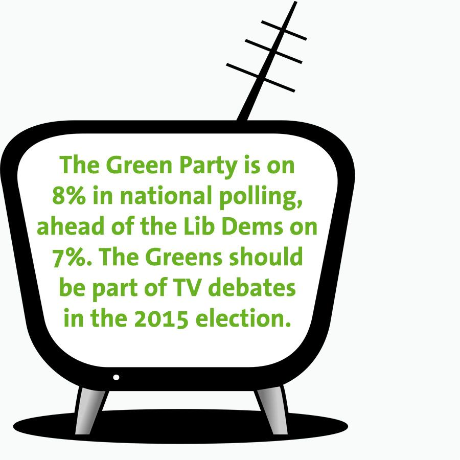 RT @Scott_Redding: The Greens should be part of TV debates in the 2015 general election. #invitethegreens http://t.co/yT9S9NwoN3