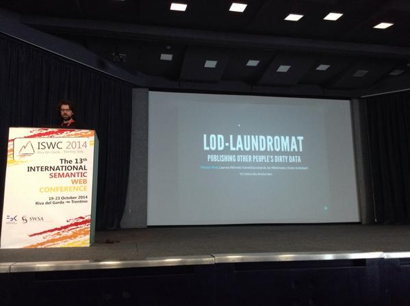 Wouter Beek #LODLaundromat RDBS dataset submission #iswc2014 #cool @VUamsterdam http://t.co/3jUMsTkynj