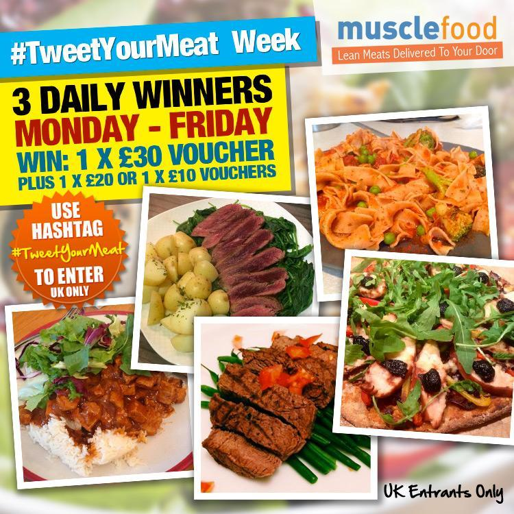 RT @MuscleFoodUK: How does a £30 MF voucher sound? Win vouchers today, simply #TweetYourMeat to enter! Day 4 of #TweetYourMeat week! http:/…