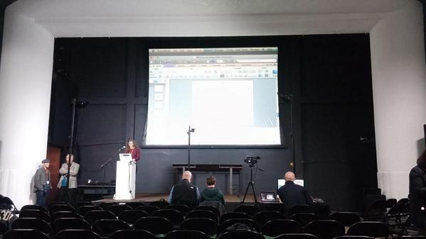 Everyone's getting setup for the first day of the Books in Browsers conference :) #bib14 http://t.co/3x9pDva8XI