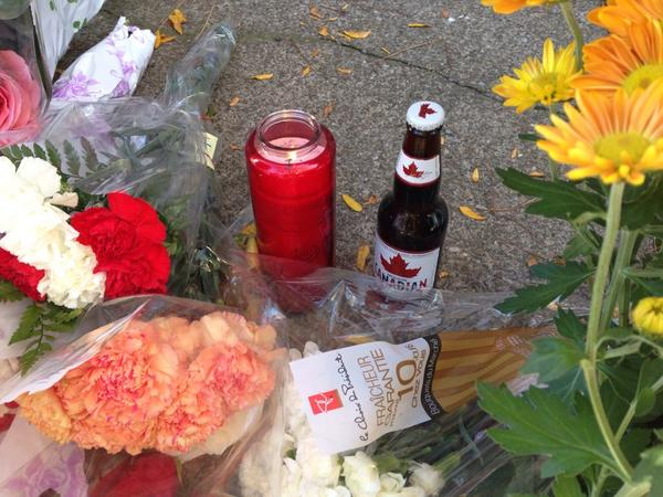 A slightly different kind of memorial laid at the memorial for Cpl. Nathan Cirillo. #HamOnt #OttawaShooting http://t.co/ZCu9YvEWkX