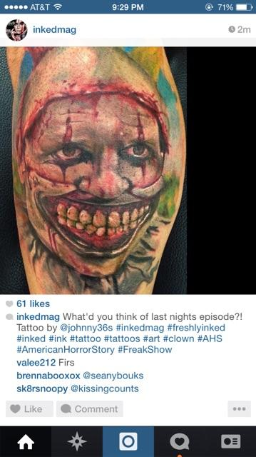 Why would anyone get the clown from AHS tatted on them ?? Smh http://t.co/WzHwRzKexN