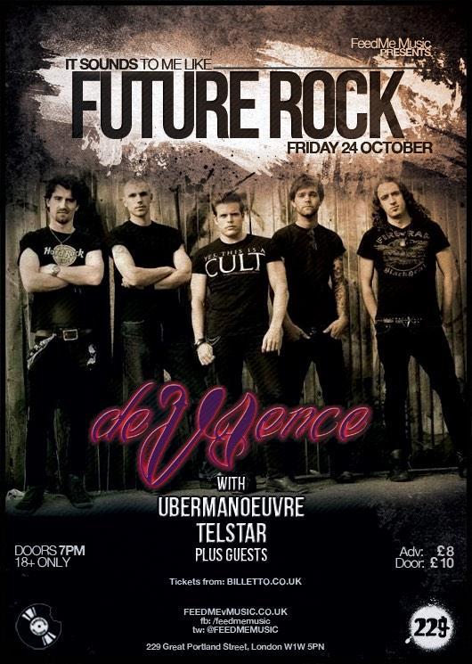 RT @FeedMeMusic: Alt/Rock at its best 2nite @229thevenue - @deVIence @Ubermanoeuvre @BandTelstar @BillettoUK https://t.co/WcbaJPJIej http:/…