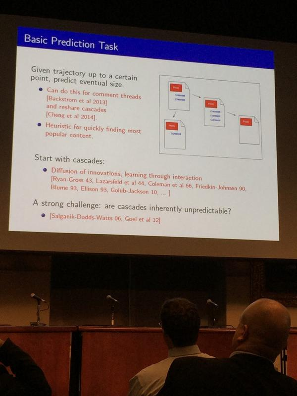 Basic question: how to predict what content will be shared widely? Or, are cascades unpredictable? #cj2014 http://t.co/Q7dCleEkXH