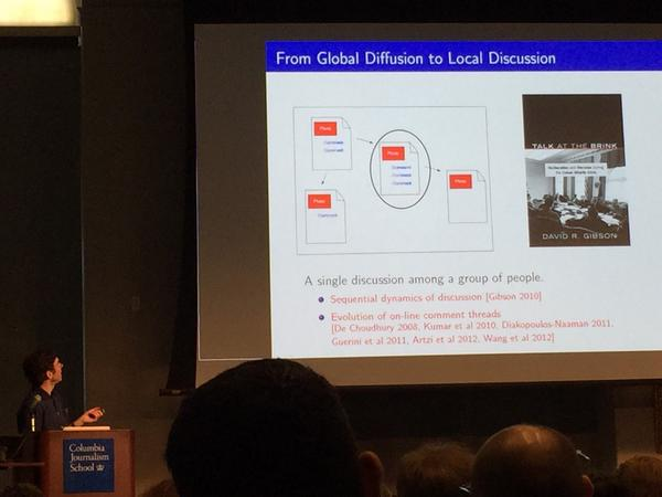 Research to understand discussion and comment threads - #cj2014 keynote by Jon Kleinberg http://t.co/3HUQi1uZj1
