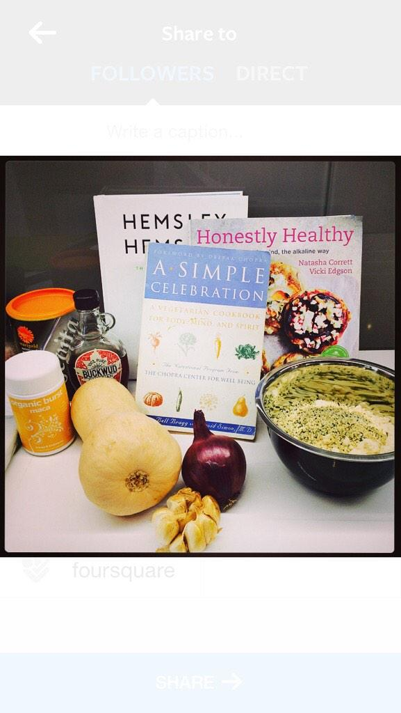 Cooking up a storm today with some of my fave recipe books 😋 @HonestlyHealthy @HemsleyHemsley #ChopraCenter http://t.co/Eh43Ps5gsA