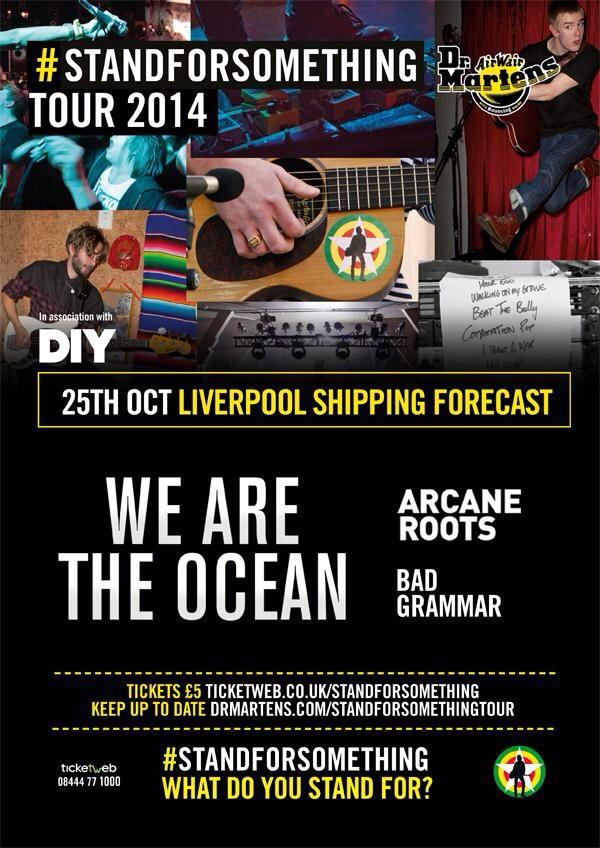 Tomorrow we play @ship_forecast with @wearetheocean & @ArcaneRoots for @diymagazine & @drmartens! #standforsomething http://t.co/VfVXOhXmDD