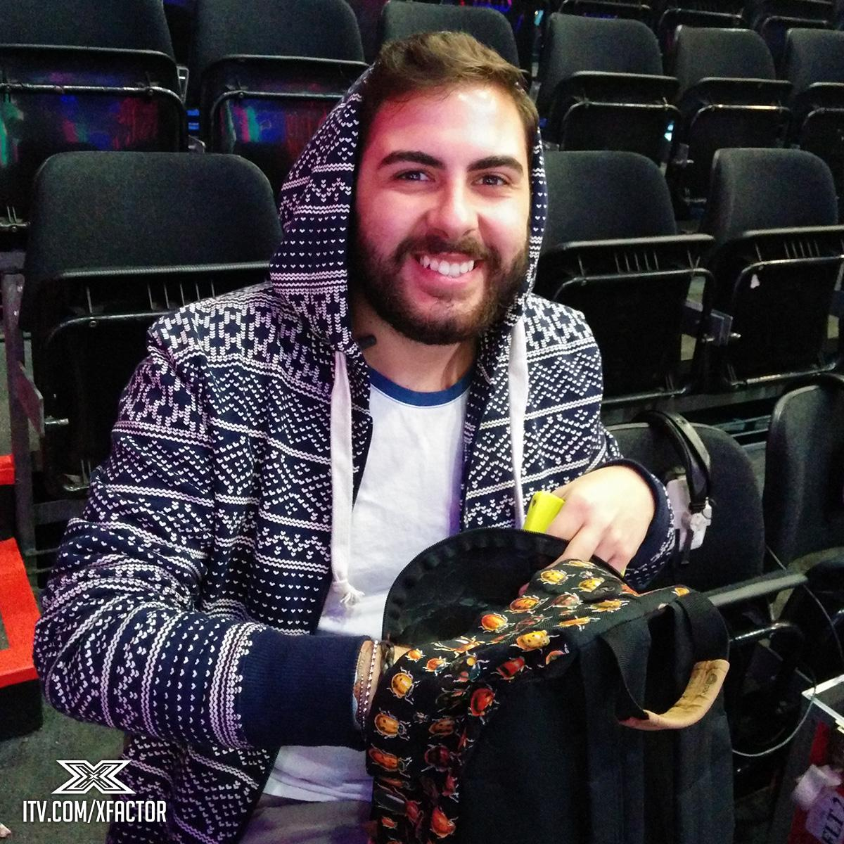 Yesss it's #PugMan @AndreaFaustini1! P.s. ❤ that rucksack 🐞 #GuessTheXFactorContestant http://t.co/FWfFaFf7bx