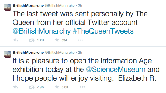 The Queen has sent her first tweet, from @BritishMonarchy. HRH, let's talk KPIs. #TheQueenTweets http://t.co/WT1Ui6ajeM