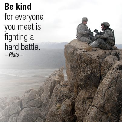 """""""Be kind for everyone you meet is fighting a hard battle."""" - Plato #inspirationalquotes http://t.co/5gdnZgi1nj"""