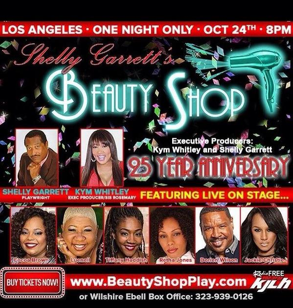 "TONIGHT IS MY GIRLS PLAY @kymwhitley brings back ""BEAUTY SHOP"" IM EXCITED AND MAY BE DRUNK THE ENTIRE NIGHT! http://t.co/D3v6F2nIi9"
