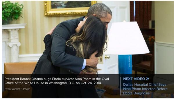 オバマ大統領:アメリカ国内初のエボラ感染者、ダラスの看護師ニーナ・ファムさんが全快。そのニーナさんをホワイトハウスに招いてハグハグ。パニックを防ぐと同時に、元患者の尊厳を守るためとみた。 http://t.co/BRFFf8BGpg