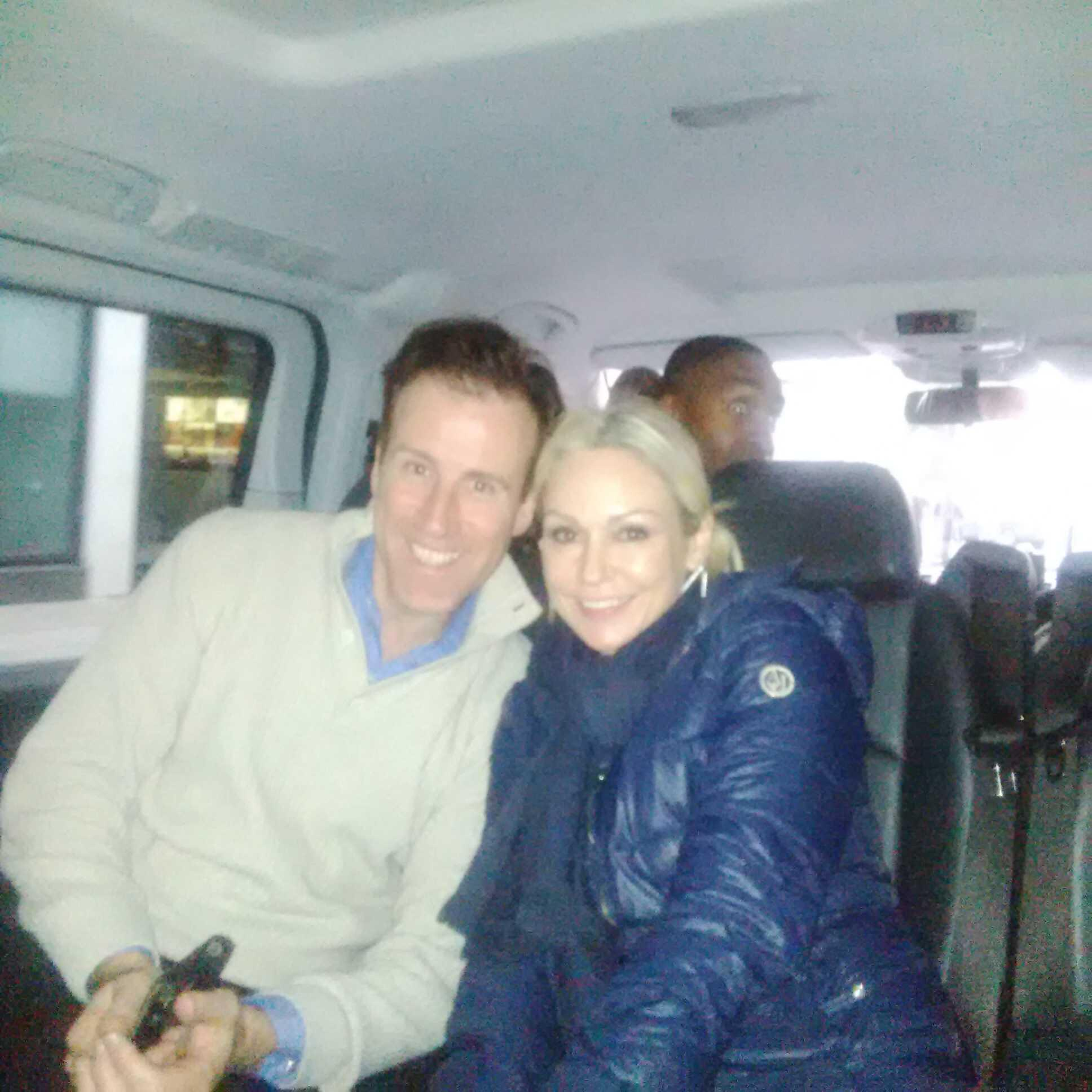 RT @judmoo: Also on our Strictly road trip...@TheAntonDuBeke + @KRihanoff being photobombed by @simonwebbe1. #SCD http://t.co/STumgBJ3Cd