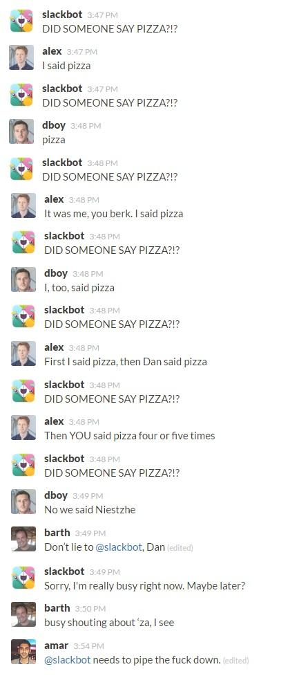 An insight into what happens on the Contagious general Slack channel - mostly arguments with Slackbot http://t.co/YVn4R1GveO