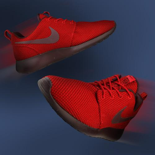 Nike Roshe Courir Casier Rouge Pied