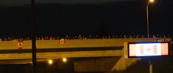 #highwayOfHeroes Winston Churchill at 407 The gathering to honour Cpl. Nathan Cirillo #LestWeFroget http://t.co/icxplyf9ni