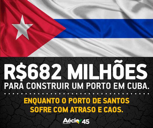 """""""O que o seu governo tem a esconder sobre o porto de Mariel em Cuba?"""" - @AecioNeves #ÉAécio45Confirma http://t.co/LA9il4kJZJ"""