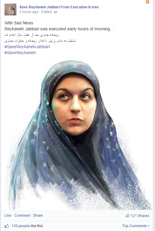 Hanged. Iran executes Reyhaneh Jabbari at dawn, defying protests from Iranians, UN, Amnesty http://t.co/sFZ5cNyOFs http://t.co/pxOd8viVM3