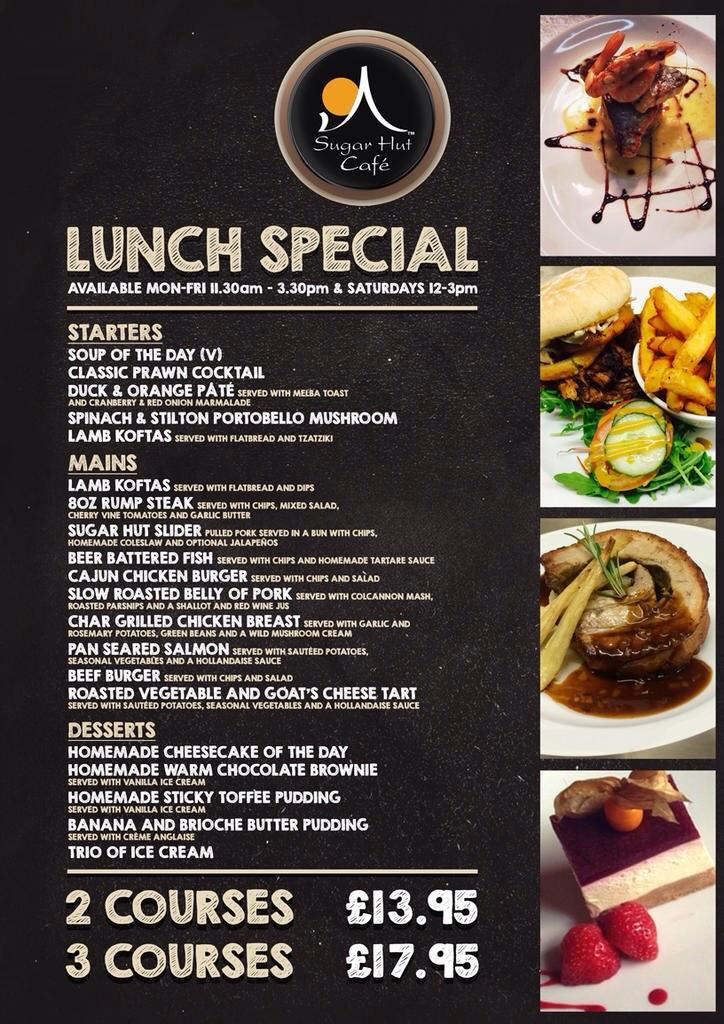 The #sugarhut restaurant is open for our lunch special from 12pm-3pm. http://t.co/FgKcx3xaJb