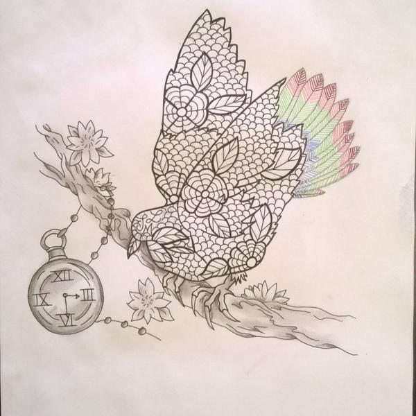 The Tattooexperience On Twitter Oiseau Fleur Cerisier Montre