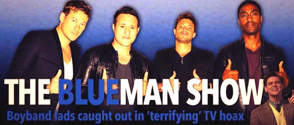 The Blueman Show! Find out how Blue were caught in UK's most shocking TV hoax ever in Bizarre: http://t.co/MVJHh7l5Ld http://t.co/Tm3mn3Dhgw