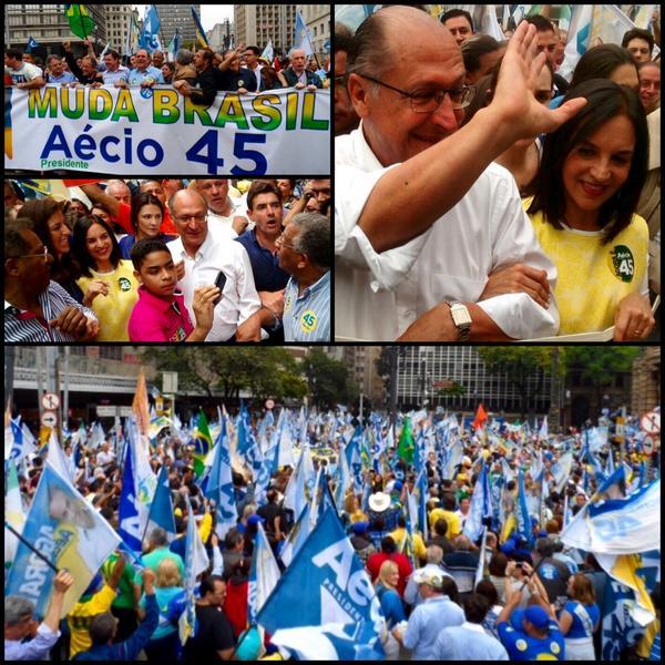 Com @geraldoalckmin_ na Praça do Patriarca, no Centro de SP, na caminhada em apoio ao nosso candidato Aécio 45 ! http://t.co/wbtPJmX4Du