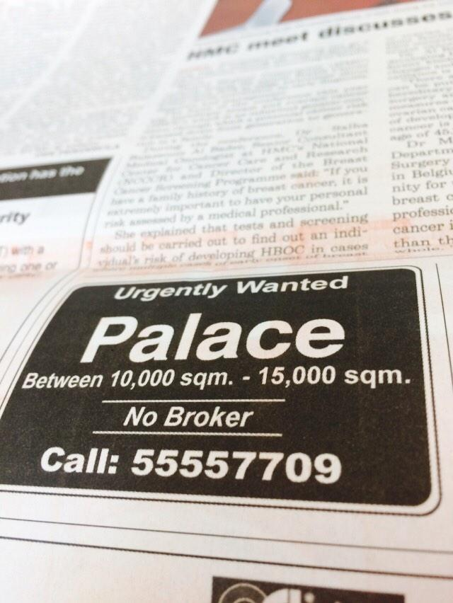 Well that's pretty specific. Anyone got a spare palace they want to offload? #qatar http://t.co/qGjGXzTND7