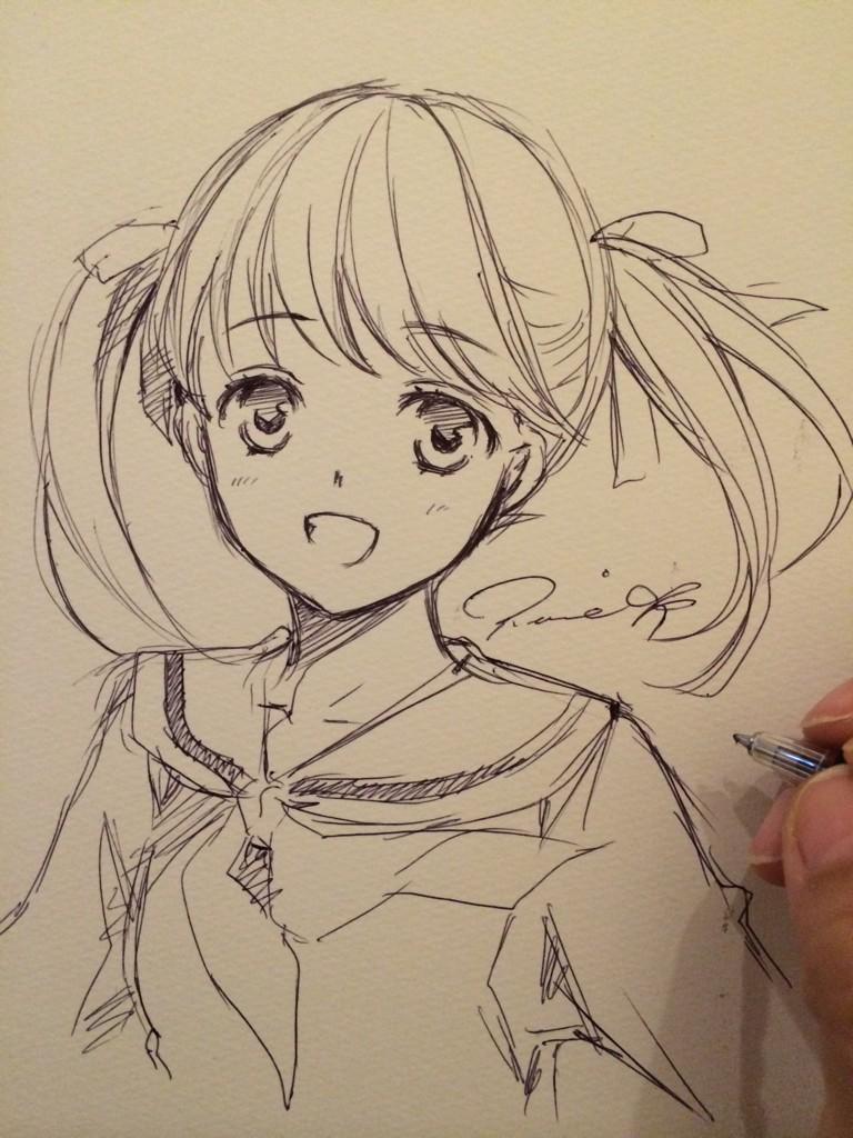 今日は色々やってみてる。祐巳ちゃんをアタリなしでボールペン一発描きする修行とか。いまさらどうしたw http://t.co/RC06sIZDx9