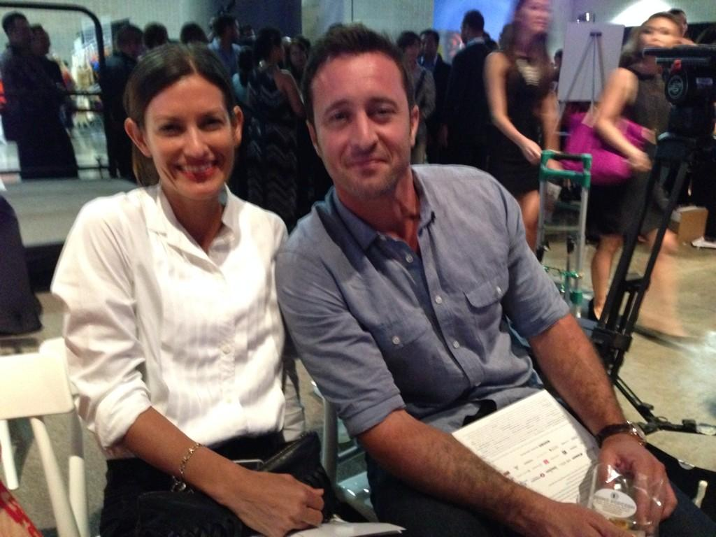 Alex O'Loughlin & Malia Jones in the front tow, HNL Fashion Week @ HI Convention Center #hfm #hfm2014 @HIFashionMonth http://t.co/XUOaeglYYV