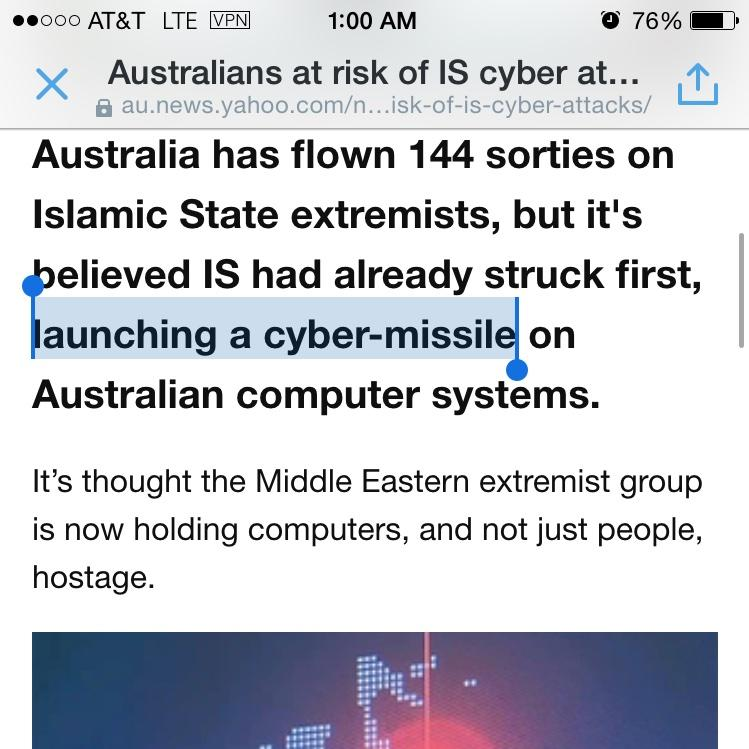 """What the shit. """"Cyber-missile"""". Just stop. RT @SwiftOnSecurity: PLEASE STAB ME IN THE FACE. YES, RIGHT IN THE FACE. http://t.co/GfJKs9RBUb"""