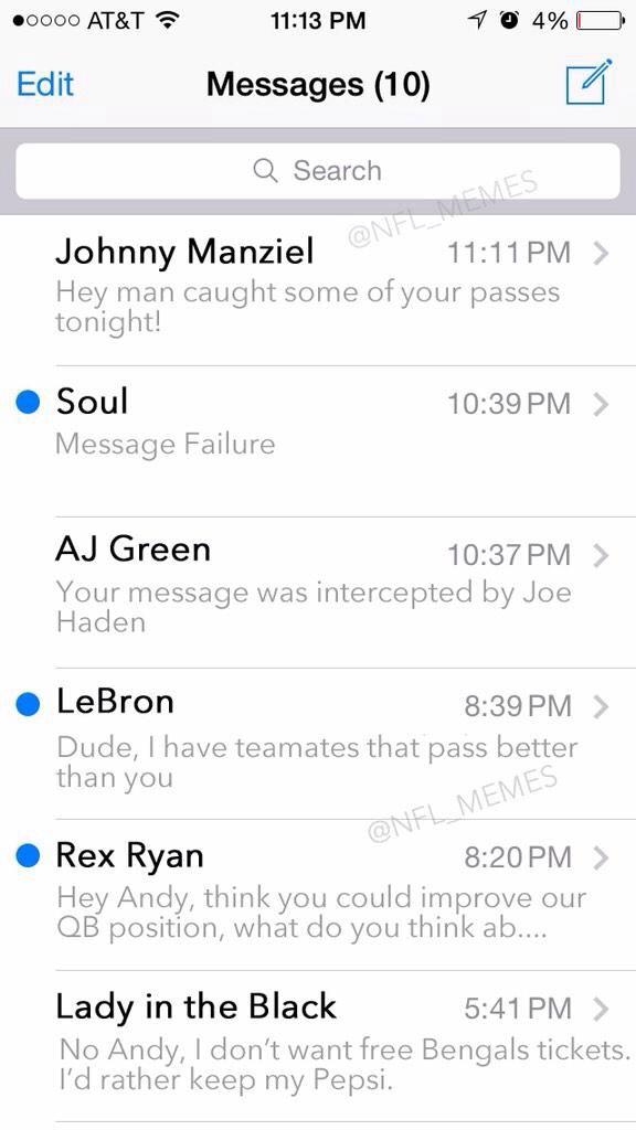 Andy Dalton's Postgame Text Messages inbox leaked! http://t.co/xJhCBCqPeT
