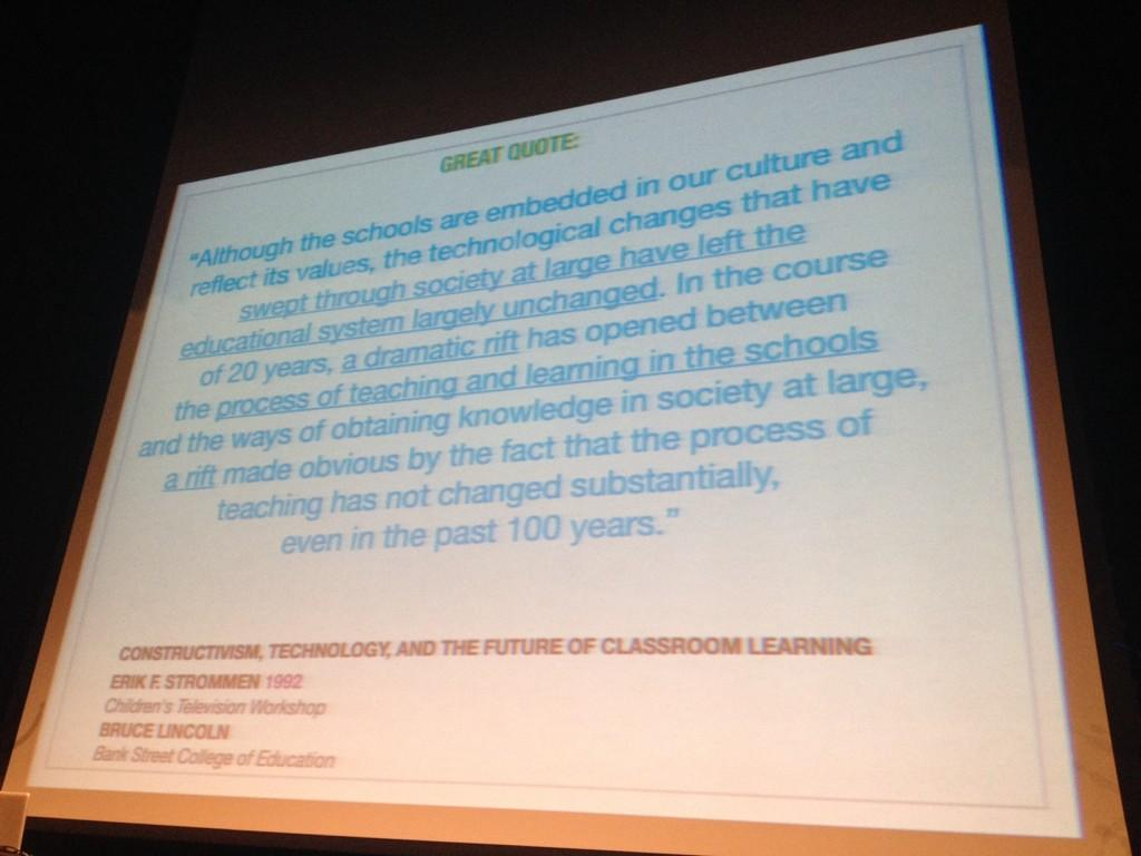 Could hear a PIN DROP when @RonCanuel #bit14 keynote had us all read a long quote on the screen. #100yrsNoChange http://t.co/v5FLXqyd1F