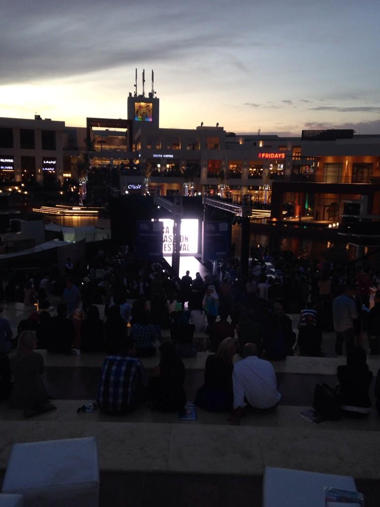 The #CFF3 runway show is located by the dancing fountain at Cairo Festival City. #JRMC2202 #JRLWeb http://t.co/X8q8IGwdny