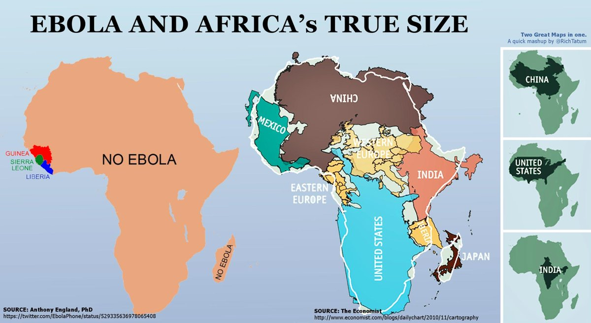 Rich Tatum On Twitter The True Size Of Africa Vs Ebola - Real map us in africa