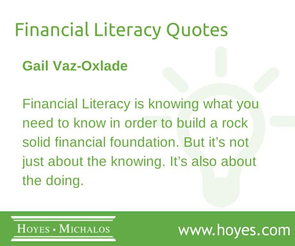 Hoyes Michalos On Twitter Financial Literacy Quotes From Gail Voz
