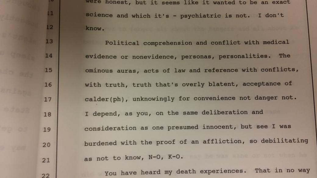 Is Scott Panetti sane enough to be executed? Here's a representative sample of how he defended himself at trial: http://t.co/h8M3ZDrtJW