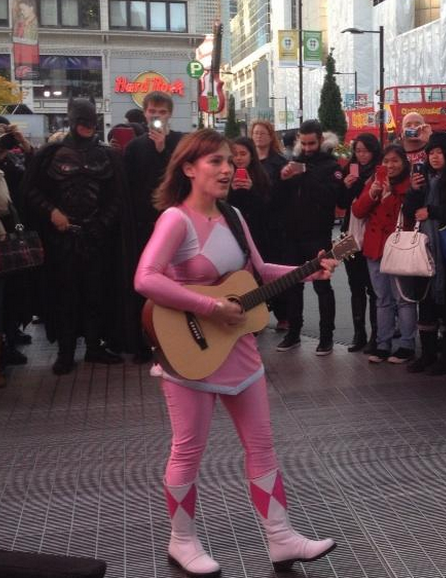The original pink Power Ranger busked at Yonge-Dundas Square today. P.S. Batman was also there. -@CarlinIndie88 http://t.co/LQrxxWWLxL