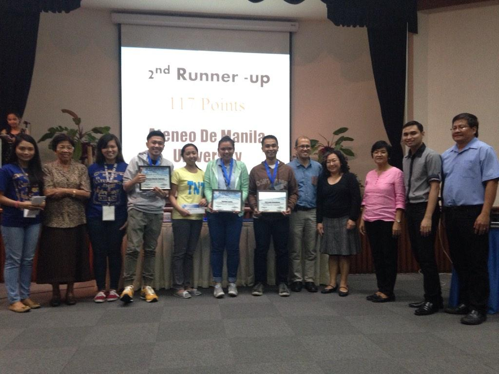 Second placer of #NIGQC2014 is Ateneo de Manila University with 117 points. http://t.co/IpuqDZTLa6